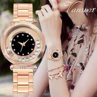 Luxury Fashion Women Crystal Stainless Steel Band Watch Quartz Analog Wristwatch