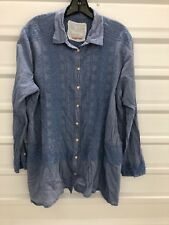 Johnny Was 3J Workshop Womens Blue Embroidered Long Sleeve Shirt Size XL