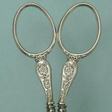 Antique French Silver Roses Embroidery Scissors * Circa 1890