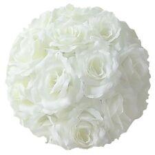 "10"" Rose Flower Pomander Kissing Balls Wedding Pew, Home Decoration White"