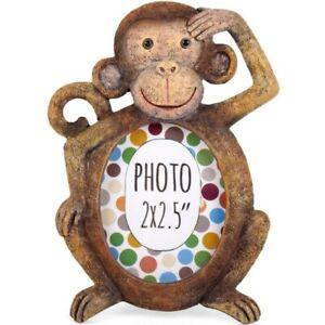 "Mini Monkey Resin Photo Frame, Fits 2x2.5"" Picture, Cute Mini Frame"