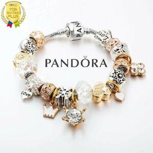 Authentic Pandora Silver Sanke Chain Bracelet w. Gold Love Heart European Charm