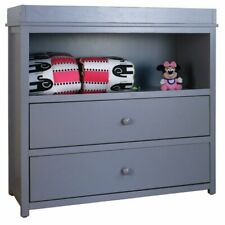 AFG Baby Furniture Amber Solid Wood 2-Drawers Changing Table in Gray
