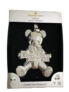 Harvey Lewis Silver Baby Bear Swarovski Crystals Holiday Christmas Ornament