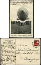 Zeppelin 1910 Bildpostkarte LZ4 Schweiz nach Tsingtau Kiautschou China / 811 RAR