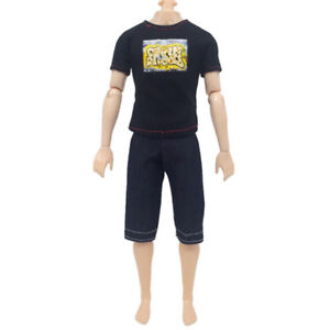 Black T-Shirt Suit for   Doll Toy Two-Piece Suit Kid Doll Cloth Children ^lk