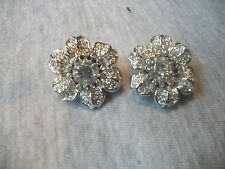 NOLAN MILLER Signed NEW Amazing Clear Austrian Crystal Flower Clip On Silvertone