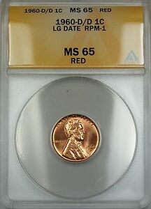 1960-D/D Large Date RPM-1 Lincoln Memorial Cent 1c Coin ANACS MS-65 Red Gem