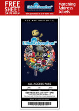 6 Little Big Planet Birthday Personalized Ticket Style Invitations