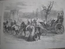 Napoleon III and Eugenie Bois De Boulogne Paris France 1860 old print