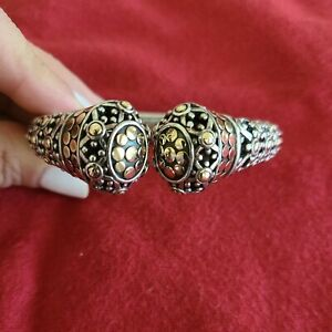 John Hardy Dot Collection 18K Gold 925 Sterling Jaisalmer Kick Cuff Bracelet M