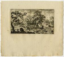Antique Print-LANDSCAPE-NORWAY-MOOR-SKIFF-VILLAGE-Van Everdingen-ca. 1650