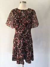 J Crew New Silk Chiffon Brown Floral Multi Dress Size 6 Summer Sample Item