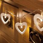 Warm White 10 Wooden Heart Led Battery Fairy String Light Xmas Wedding Decor AU