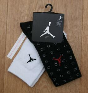 Air Jordan Boy 2 Pr High Crew Socks ~ Black, White & Red ~ 3Y-5Y ~ Sock Sz 7-9