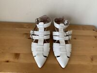 JEFFREY CAMPBELL DEETZ  white patent leather ankle strap pointy flats sz 7