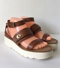 Coach Leather Platform Sandals Saddle Brown Size 8.5