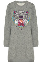 Kenzo Tiger-Embroidered Gray Cotton Sweatshirt Dress Size M NEW