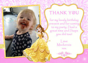Personalised Photo Princess Belle Birthday Party Thank You Cards inc envelopes
