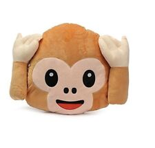 Emoji No Hear Monkey Pillow Cushion Plush Doll Toy Home Bed Kids Room Decor