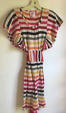 Fumblin Foe Multi Colored Stripe Cotton Knit Dress with Red Satin Sash sz S Cute