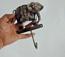 COLORFUL ELEPHANT DESIGN PAINTED WALL IRON HAND CRAFTED HANGER 1 HOOK