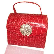 Borsa beauty portagioie 10x13 in pelle rossa con margherita centrale laminata ag