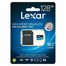 Lexar 128GB High Performance 95MB/s Class 10 UHS-I 633x Micro-SDXC + SD Adapter