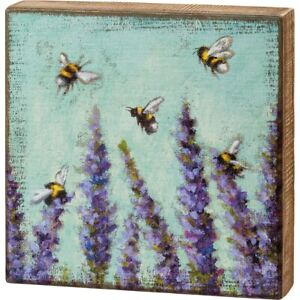 """New Large Nature Inspired """"Lavender & Honey Bee"""" Design Box Sign - Home Decor"""