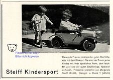 Steiff Tretauto und Roller Reklame 1933 Kinder Werbung Knopf im Ohr +
