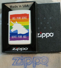 ZIPPO  ALL FOR LOVE Lighter  LOVE FOR ALL Rainbow Colors UNICORN Mint in Box