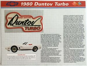 1980 CORVETTE Willabee & Ward OFFICIAL PATCH COLLECTION CARD Ltd Ed DUNTOV TURBO