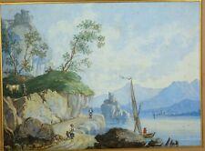 LAC ITALIE AQUARELLE XIXe  VUE :19 x 25 cm