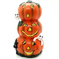 K's Collection Halloween Stacked Pumpkins Ghosts Black Cat Figurine