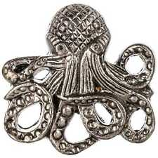 SET OF TWO Pewter Octopus Cabinet Knob Drawer Pull Nautical