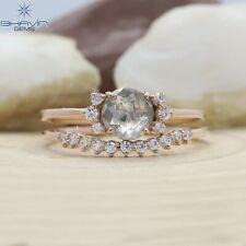 14K & 18K, Round Rose Cut Diamond, Natural Diamond Ring,Salt And Pepper, BJR-111