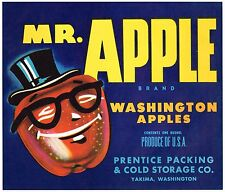 APPLE CRATE LABEL MR. APPLE YAKIMA WASHINGTON ANTHROPOMORPHIC FANTASY 1940S