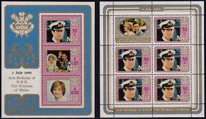 NIUE 21st Birthday of Princess of Wales, Set of 4 Miniature Sheets MNH