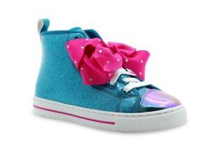 Nickelodeon Jojo Siwa Toddler Girls' Teal Pink Bow High-Top Sneaker Shoe: 11