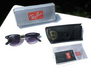RayBan Clubmaster Black & Gold Sunglasses Shades