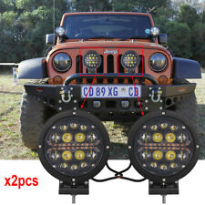 Round 4x4 led off road driving lights With Amber Light DRL For Ford Jeep x2pcs