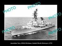 OLD POSTCARD SIZE PHOTO OF AUSTRALIAN NAVY THE HMAS BRISBANE DESTROYER c1970