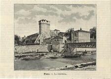 Stampa antica FANO Veduta della Fortezza Pesaro Marche 1891 Old antique print