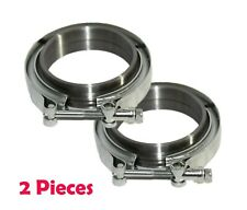 2 Pieces 2.5'' V-Band Flange & Clamp Kit for Turbo Exhaust Downpipes MILD STEEL