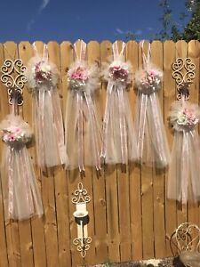 6 TULLE FLOWERS Pew BOWS BlUsh PINK & IVORY WEDDING BRIDE LONG Ivory