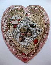 Antique Victorian Era Valentine's Day Card Heart Shaped Paper Lace & Scraps