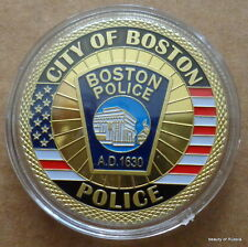 city of Boston  POLICE  24K GOLD  PLATED 40 mm  Challenge  COIN  27 se