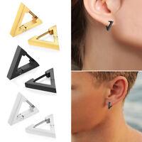 Women's Punk Rock  Stud Stainless Steel Triangle Hoop Huggie Ear Studs Earrings
