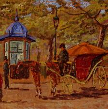 Dipinto Olio  Formigli Ennio cm 25 x 15 Calessino Passeggiata Edicola Livorno