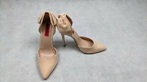 London Rebel Nude Beige Bow Detailed D'orsay Stiletto Heels Size UK 3 EU 36